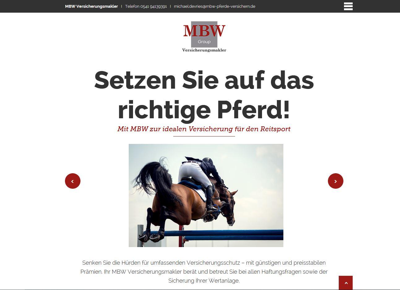 Landingpage der MBW Versicherungsmakler zu Versicherungen für Pferdehalter